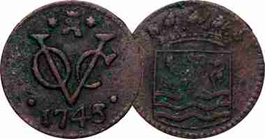 Coin Value: Indonesia (Dutch East Indies) Duit and Half Duit 1726. Pict Source: coinquest.com