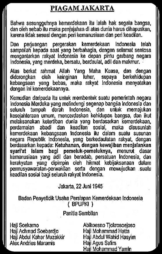 """Naskah Asli """"Piagam Jakarta"""" atau """"Jakarta Charter"""" yang dihasilkan oleh """"Panitia Sembilan"""" pada tanggal 22 Juni 1945. Sumber Gambar: wikipedia"""