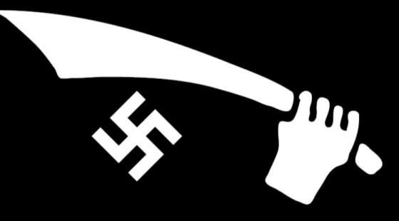 The collar patch of Handschar, worn on the right collar in place of the SS Sig runes worn by Germanic SS divisions.