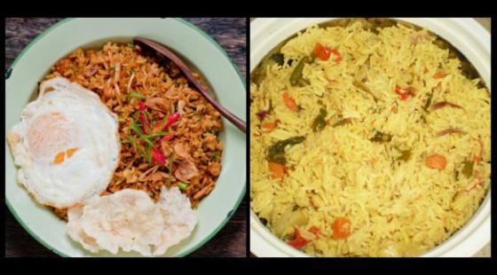 Nasi goreng Indonesia dan nasi biryani India. (foto: Indochinekitchen.com)