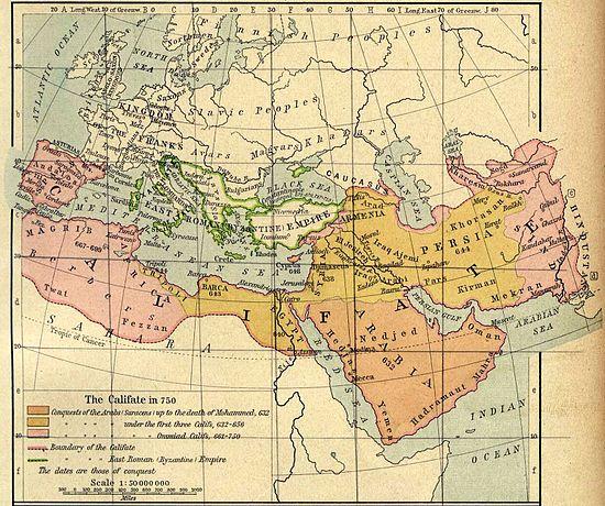 Peta wilayah Kekhilafahan Islam dan sekitarnya pada tahun 750 M (awal abad ke-2 Hijriah) (wikipedia)