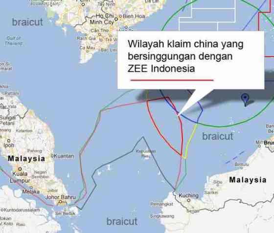 Wilayah klaim China yang bersinggungan dengan ZEE Indonesia. (Kaskus)