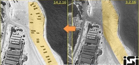 Foto citra satelit menunjukkan rudal dikerahkan di pulau sengketa di Laut China Selatan. (Intelijen)