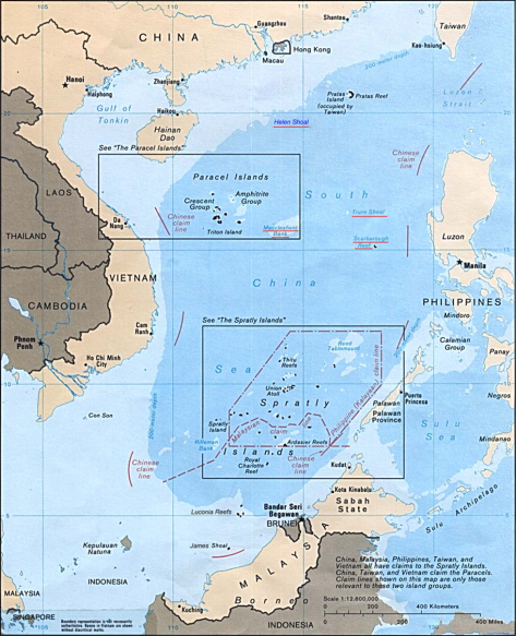 Map of the South China Sea - wikipedia commons