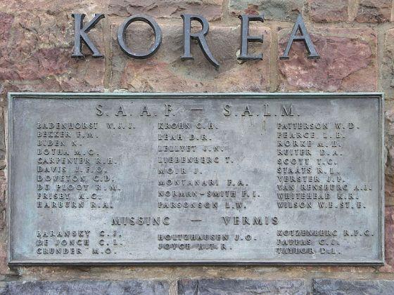 Memorial Perang Korea dapat ditemukan di setiap markas PBB di negara-negara yang terlibat dalam Perang Korea; pada gambar terlihat memorial yang terletak di Pretoria, Afrika Selatan.