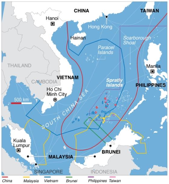 Klaim wilayah kelautan di Laut Tiongkok Selatan - wikipedia commons