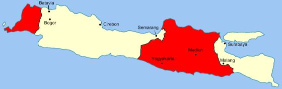 Garis Van Mook, wilayah yang dikontrol oleh Indonesia ditandai dengan warna merah; pada 1947 Soedirman terpaksa menarik kembali lebih dari 35.000 tentara dari wilayah taklukan Belanda. (Wikipedia)
