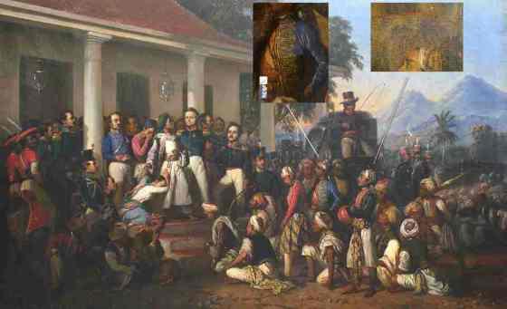 """Lukisan """"Penangkapan Diponegoro"""" karya Raden Saleh yang belum direstorasi. Inset: bagian yang rusak dan direstorasi. Foto: koleksi pameran AkuDiponegoro. (Historia.id)"""