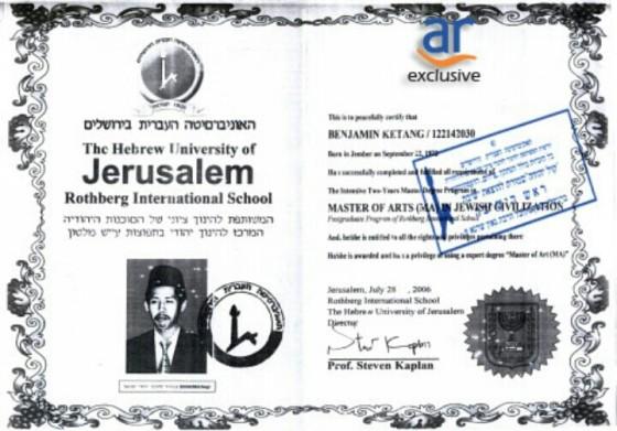 Benjamin Ketang adalah alumnus Hebrew Univrersity. (voteesprit.wordpress.com)