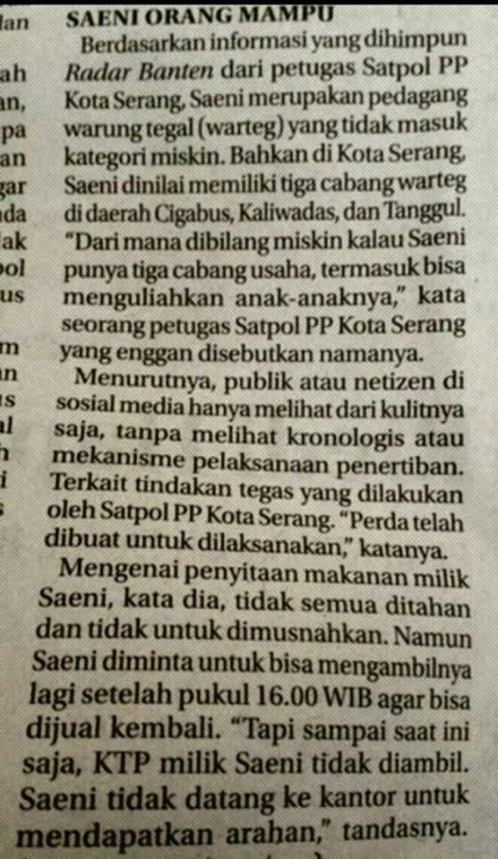Sumber berita dari Koran Radar Banten