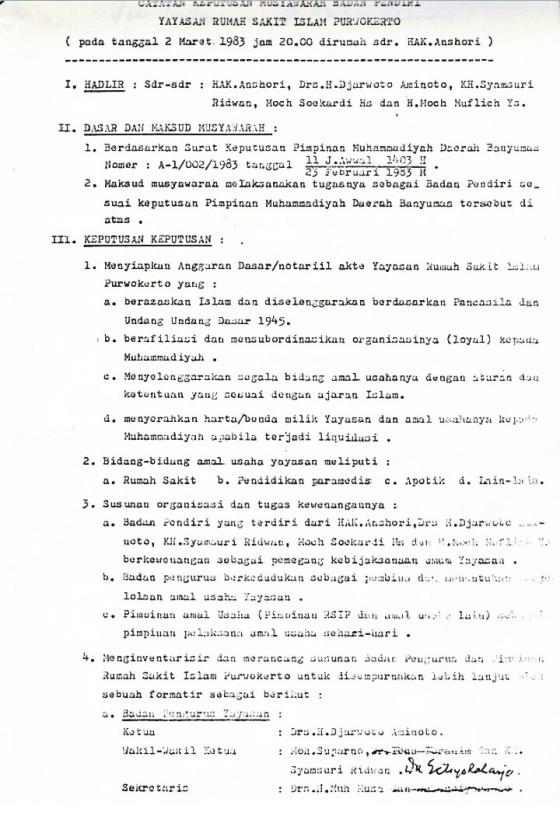 Naskah Notulensi Rapat Penyusunan AD/ART Yayasan Rumah Sakit Islam