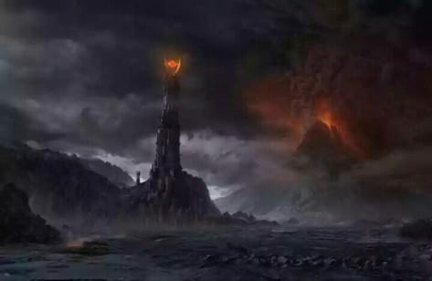 Minas Morgul (lengkap dengan mata satu Sauron di puncaknya) dan pasangannya - Gunung Berapi Mordor