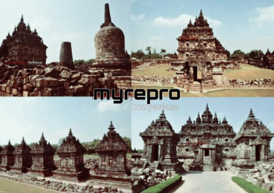 Stupa, candi perwara, dan candi utama di Candi Plaosan