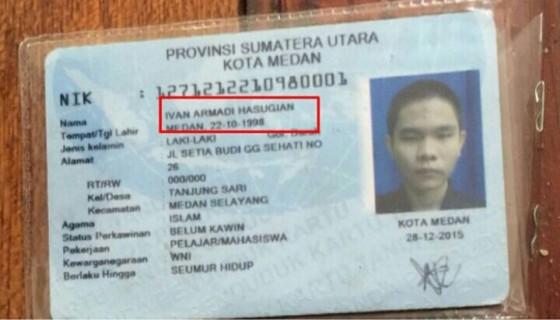 KTP Pelaku bom bunuh diri di Medan.