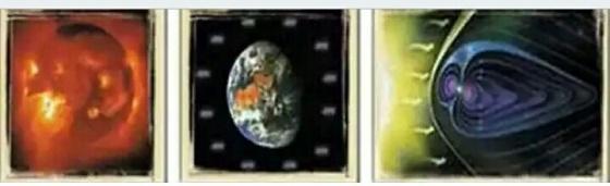 Energi yang dipancarkan oleh sebuah letusan pada Matahari (kiri) sungguh amat dahsyat sehingga sulit dibayangkan akal manusia: Letusan tunggal pada matahari setara dengan ledakan 100 miliar bom atom yang pernah dijatuhkan di Hiroshima. Bumi (tengah) terlindungi dari pengaruh merusak akibat pancaran energi ini oleh lapisan medan magnet yang disebut Sabuk Van-Allen yang melingkupinya (kanan).