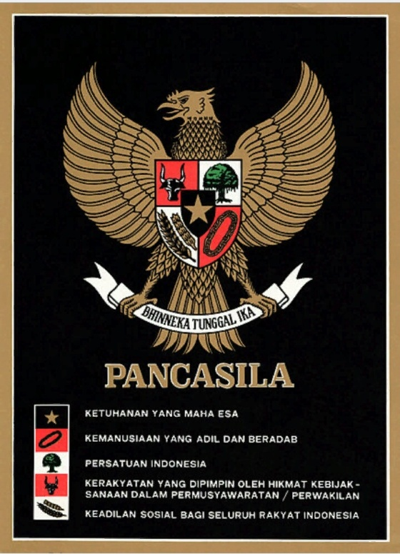 A poster showing the Pancasila on the Garuda Pancasila, issue under the New Order (c. 1987, wikipedia)