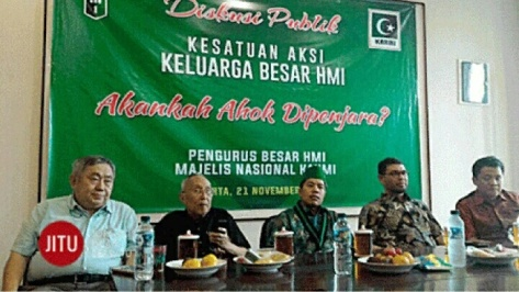 Diskusi Publik Keluarga Besar HMI tentang kasus Ahok di Jakarta, Senin (21/11/2016).