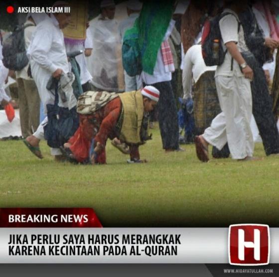 (Jika perlu saya harus merangkak karena kecintaan pada Al-Quran) Foto: yesmuslim