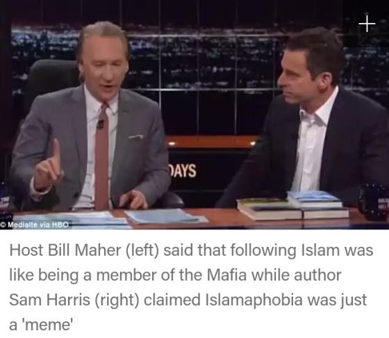 (Bill Maher--posisi duduk di sebelah kira--dan Sam Harris--yang berada di kanan)