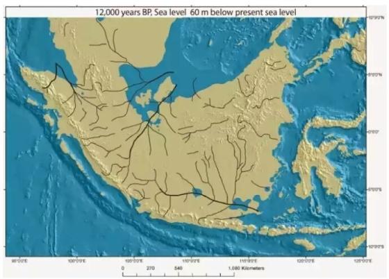 Ilustrasi Pulau Jawa yang dulu jadi satu dengan Sumatera dan Kalimantan (Majapahit 1478)