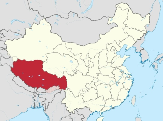 Peta wilayah Tibet : wikipedia