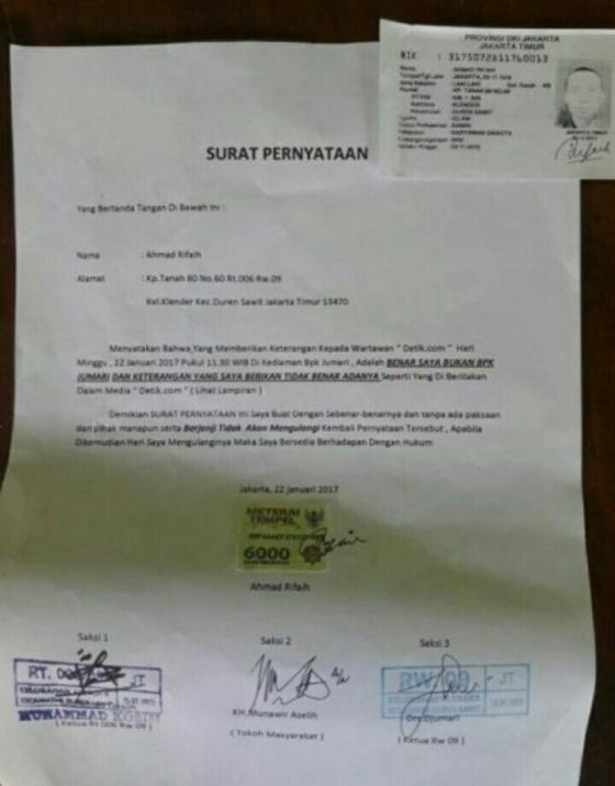 Surat Pernyataan Ahmad Rifaih
